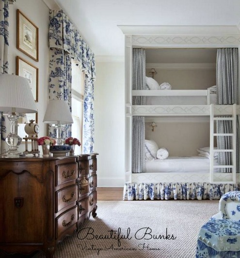 Beautiful bedroom decorating ideas from Vintage American Home Blog- Bunk beds.