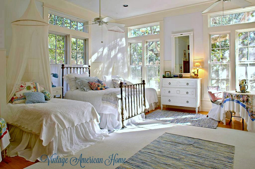 Luxurious bedroom with painted furniture. See the room at Vintage American Home.
