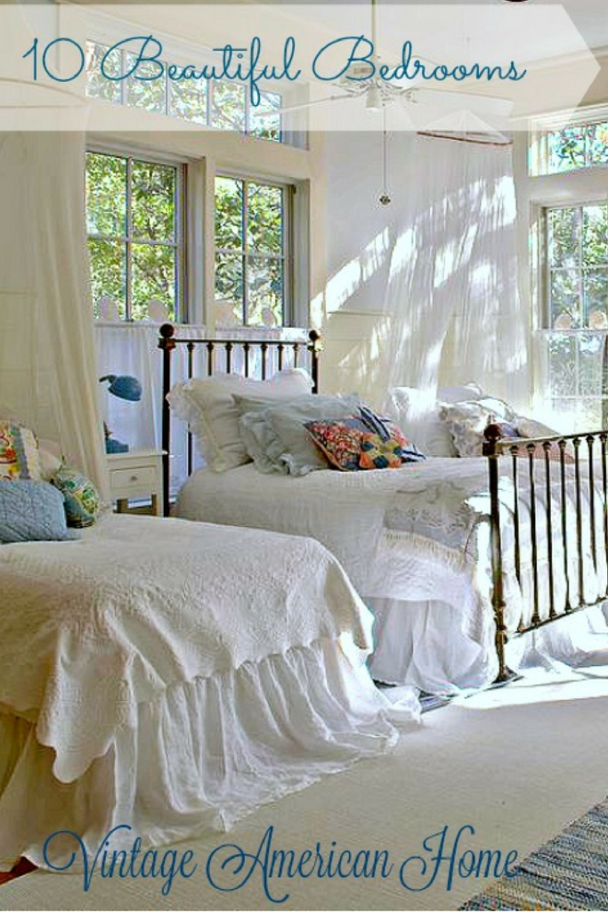 Beautiful bedrooms with shiplap and mosquito netting white paint and luxury bedding at Vintage American Home.