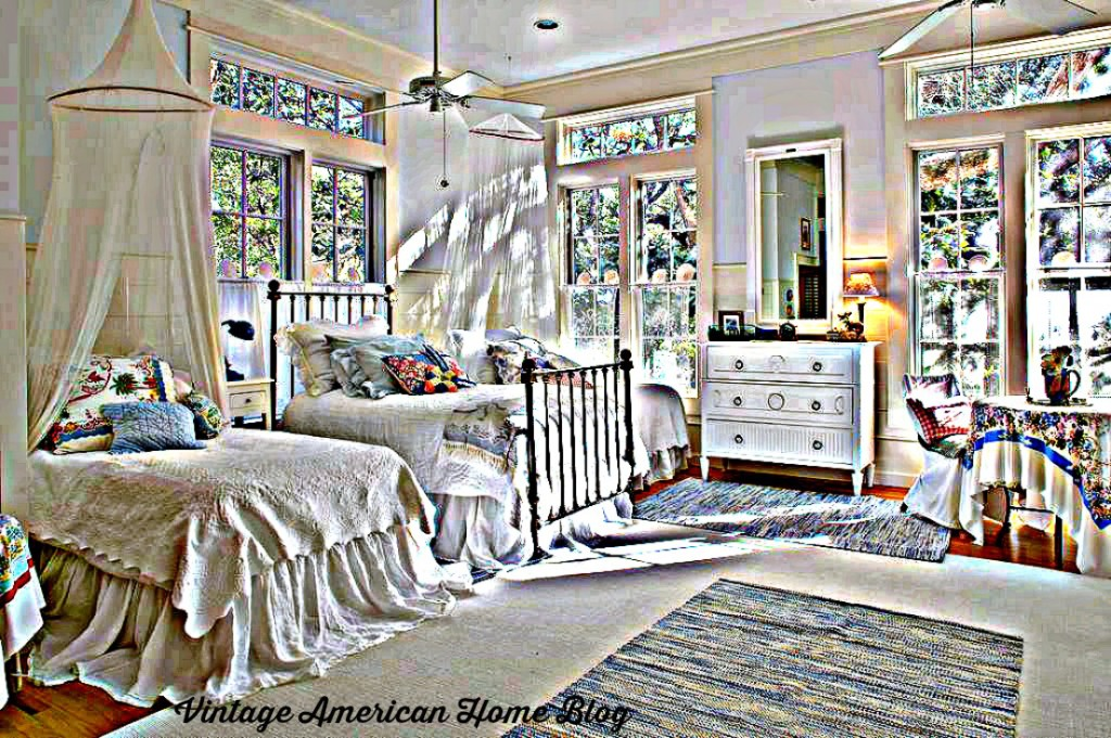 Watercolor version of beautiful coastal bedroom, see the actual room at Vintage American Home