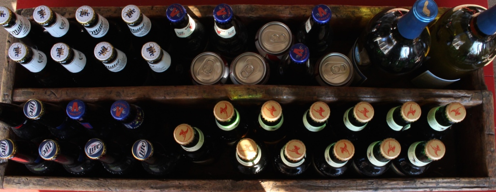 Great way to display beer and wine for a party from Vintage American Home