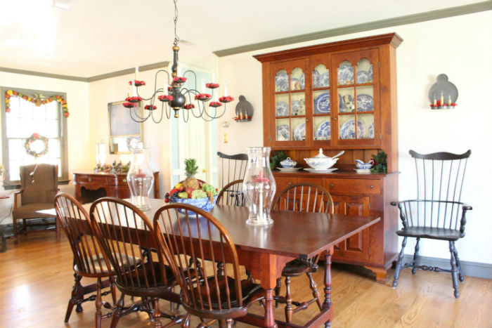 2015 Christmas House tour.  Williamsburg dining room from Vintage American Home
