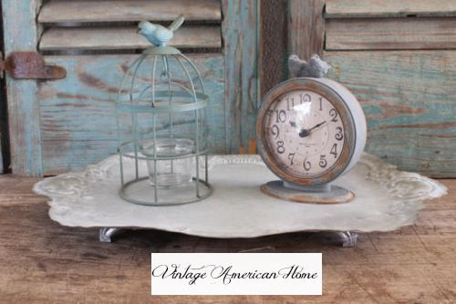 Pewter clock with birds for sale at Vintage American Home