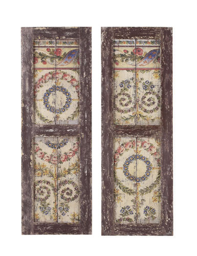 Reproduction antique wood shutters with painted design for the rustic farmhouse look. For Sale at Vintage American Home online.