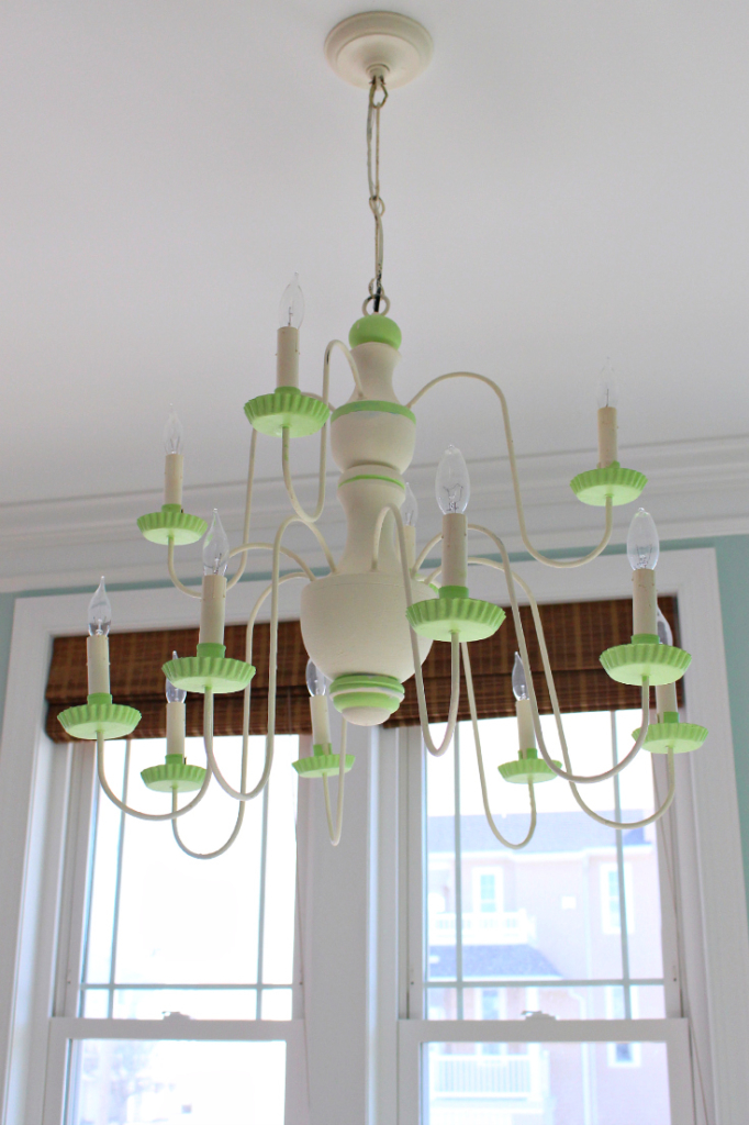 Painted Chandelier repurposed for beach house