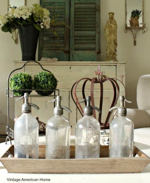 Vintage Selzer water bottles are now on sale for $30 each at Vintage American Home. or the urban farmhouse style. Decorate your fixer upper. For sale at Vintage American Home