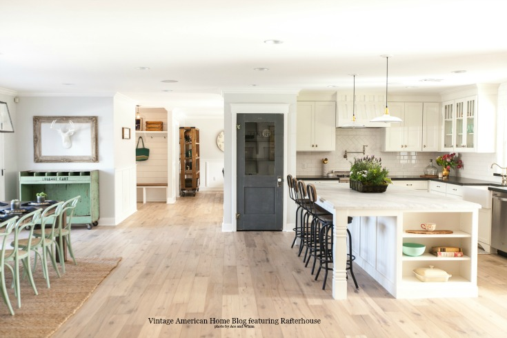 Rafterhouse kitchen featured on Vintage American Home blog with farmhouse style. Rafterhouse renovates fixer uppers