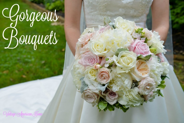 Wedding bouquets with peonies, roses, hydrangea, hand tied with satin ribbon from Vintage American Home blog