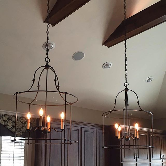 Using Open Chandeliers As Pendants Over Large Island For The Fixer Upper Farmhouse Kitchen Look