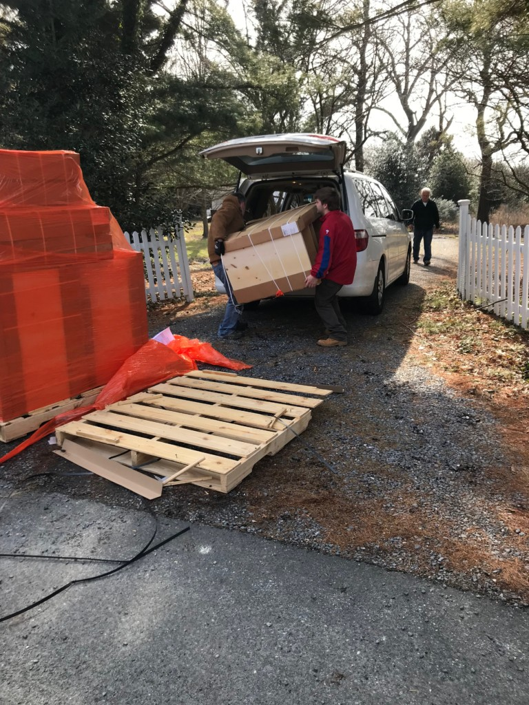 Review of Costco online kitchen cabinets. We used the van to bring the cabinets down the driveway to the house.