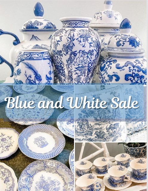 Blue and white Chinoiserie, grand millennial vintage and antique for sale